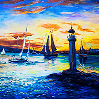 Hand Painted Seascape Art Oil Paintings on Canvas