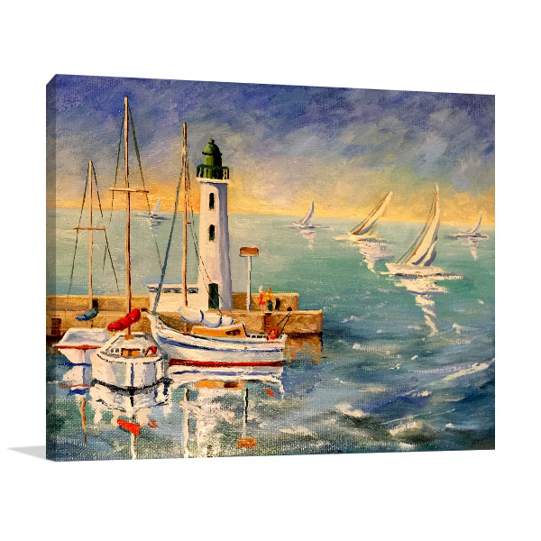 Seascape With Boats Canvas Art Prints