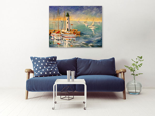 Seascape With Boats Canvas Art