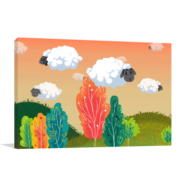 Sheeps Cloud Prints Canvas