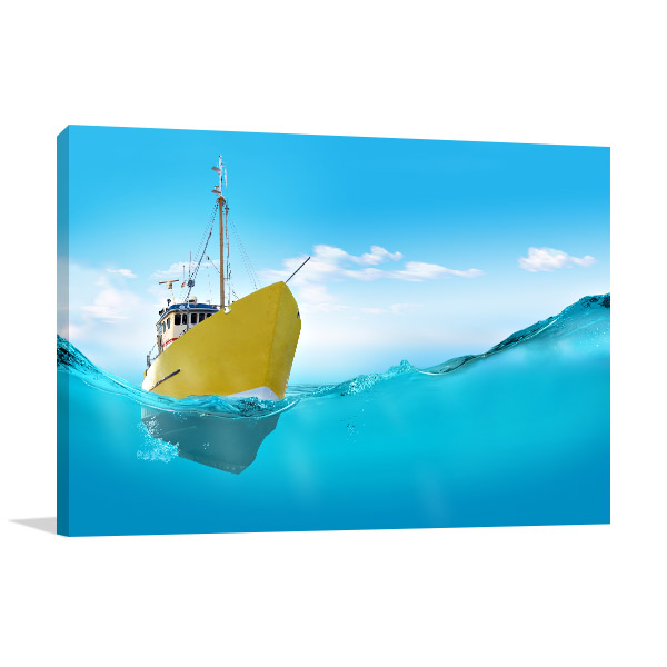 Ship In The Sea Prints Canvas