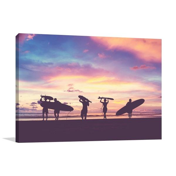 Silhouette Surfer Canvas Art Print