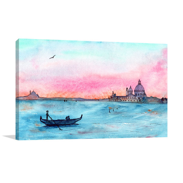 Sketch Sunset in Venice Canvas Prints