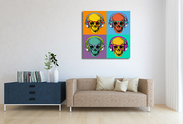 Skull in Headphones Canvas Prints