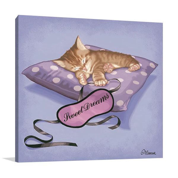 Sleeping Kitten Print on Canvas