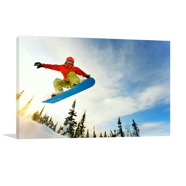 Snowboarder Jumping On Ice Wall Art