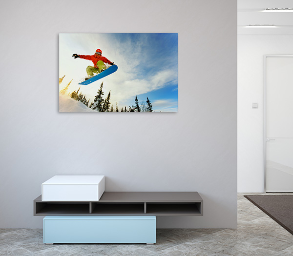 Snowboarder Jumping On Ice Art Prints