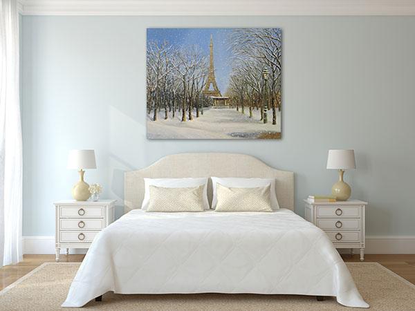 Snowfall Eifell Tower Art Prints