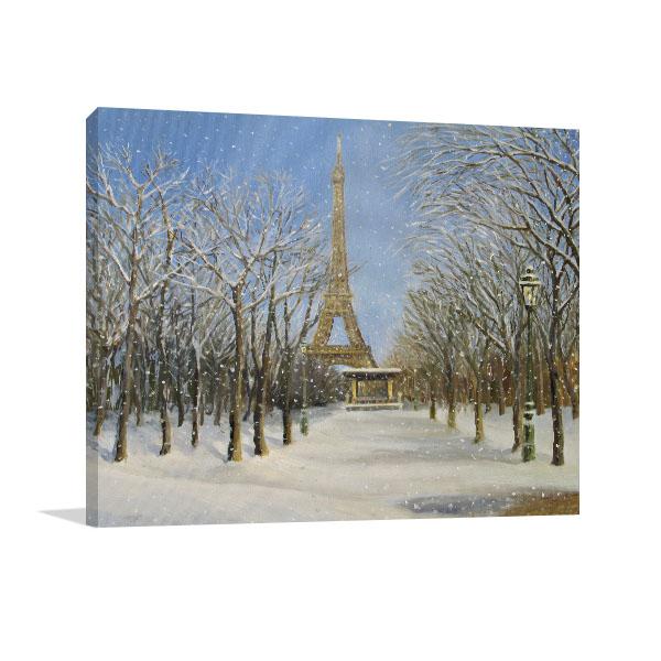 Snowfall Eifell Tower Print Artwork