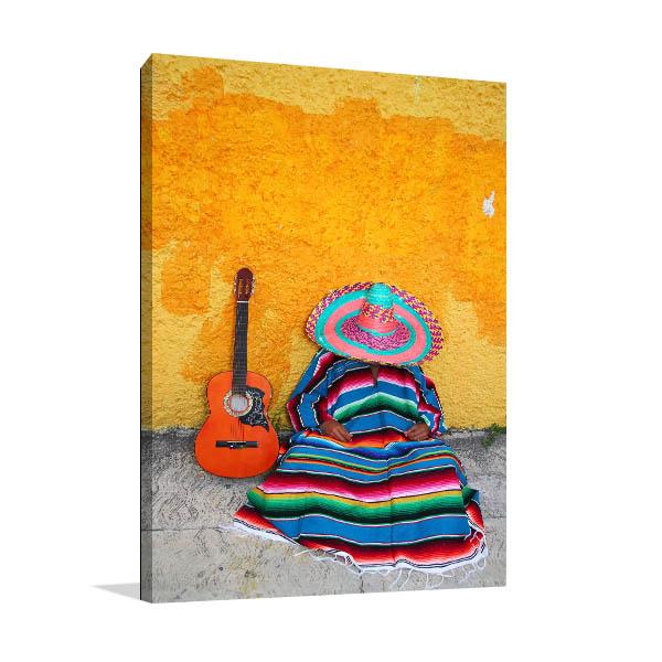 Sombrero El Guitar Canvas Prints