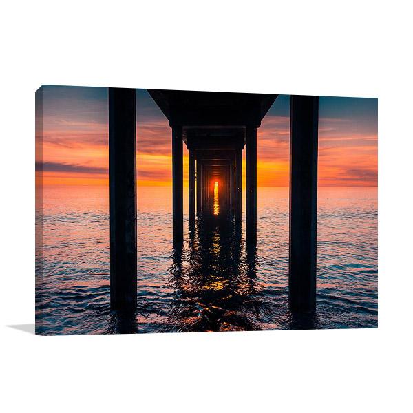 Sunset at Brighton Jetty Print on Canvas