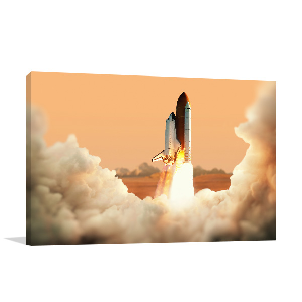 Spacecraft Takes Off Canvas Art Prints