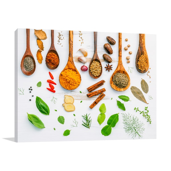 Spices On Spoon Canvas Art