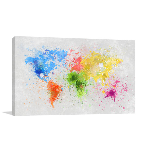 Splash Paint Map Print Artwork
