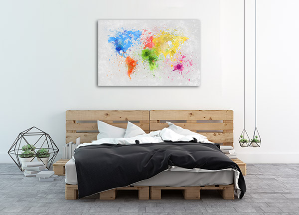 Splash Paint Map Prints Canvas