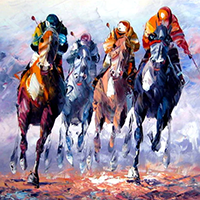 Hand Painted Sports Art Oil Paintings on Canvas