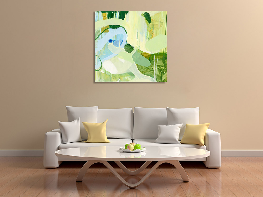 Green Art Abstract Print on Canvas