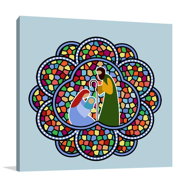 Stained Glass Baby Jesus Canvas Art