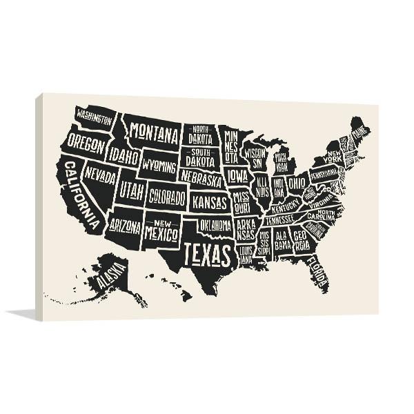 State Names Map Print Artwork