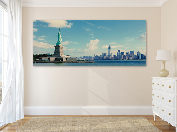 Statue And Manhattan Wall Art Print on the wall