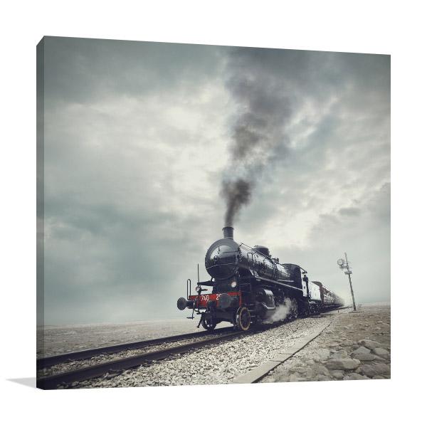 Steam Engine Train Prints Canvas