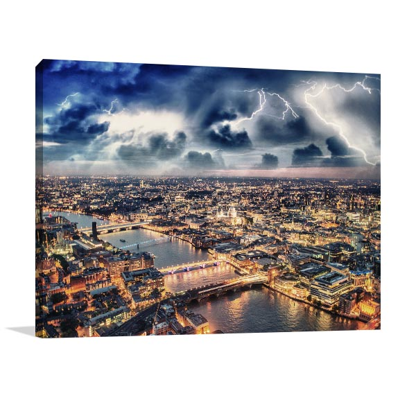 Storm Over London Skyline Canvas Art