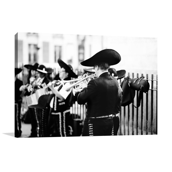 Street Performing Mariachis Canvas Art Prints
