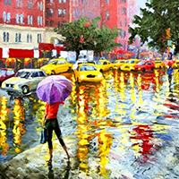 Hand Painted Streetscape Art Oil Paintings on Canvas