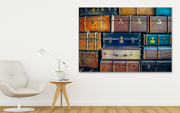 Suitcases Print Art Canvas on the Wall