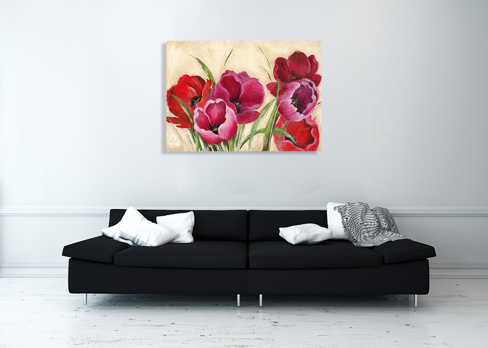Red Pink Summer Flower Print on Canvas