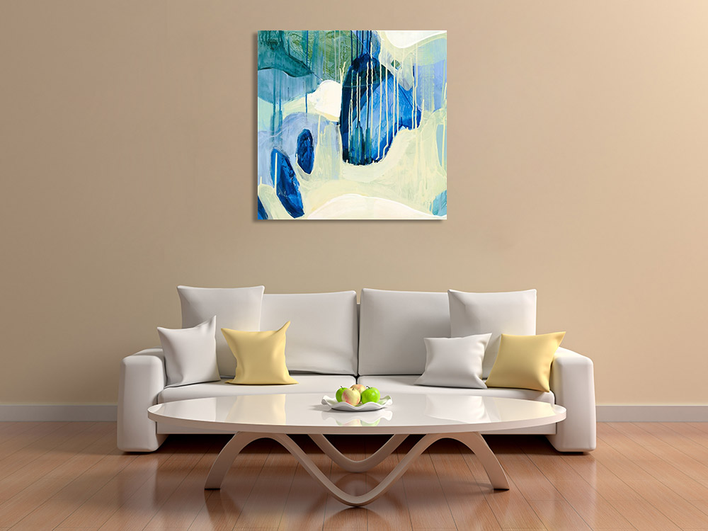 Blue Green Abstract Art on Canvas