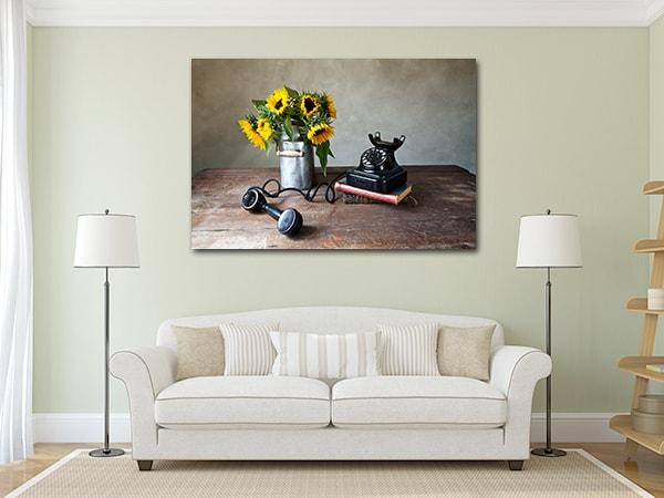 Sunflower Phone Artwork on the Wall