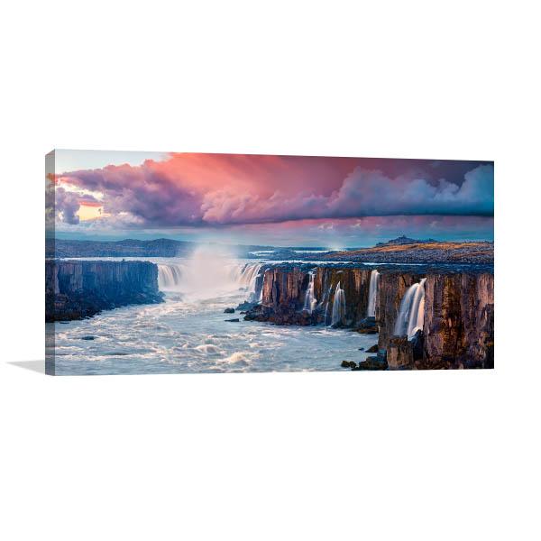 Sunrise Scene Waterfall Prints Canvas