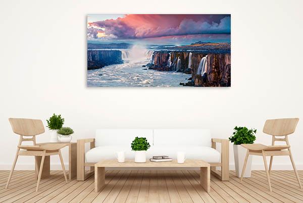 Sunrise Scene Waterfall Canvas Prints