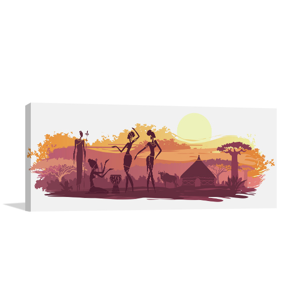 Sunset and Animals in Africa Canvas Art Prints