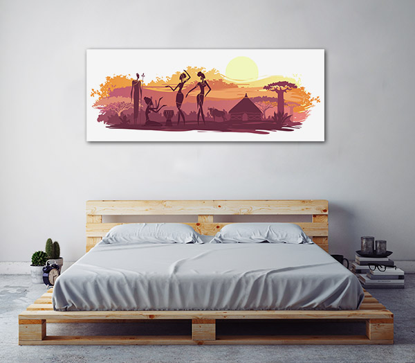 Sunset and Animals in Africa Wall Art