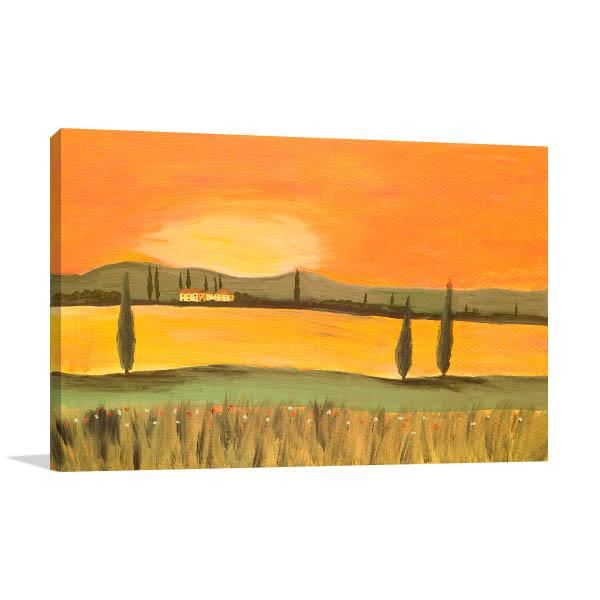 Sunset In Tuscany Print Artwork