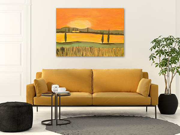 Sunset In Tuscany Canvas Art