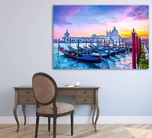 Sunset in Venice Canvas Art Print on the Wall