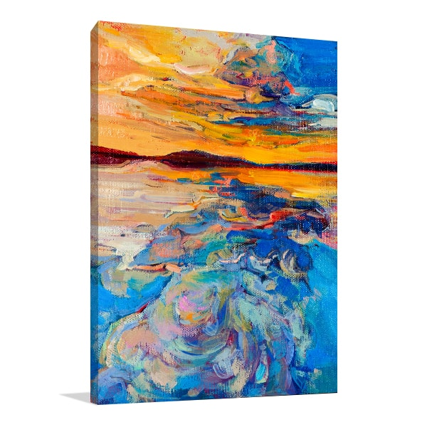 Sunset Over Ocean Canvas Art