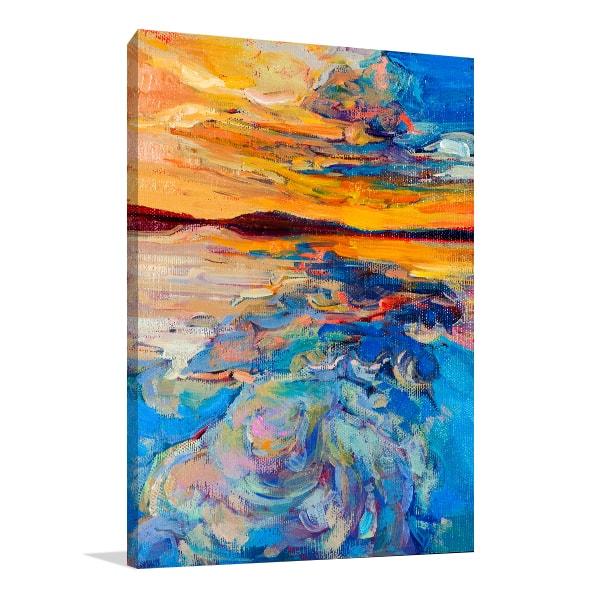 Sunset Over Ocean Canvas Art