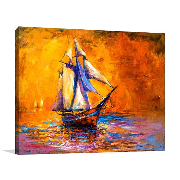 Sunset Sailboat Canvas Prints