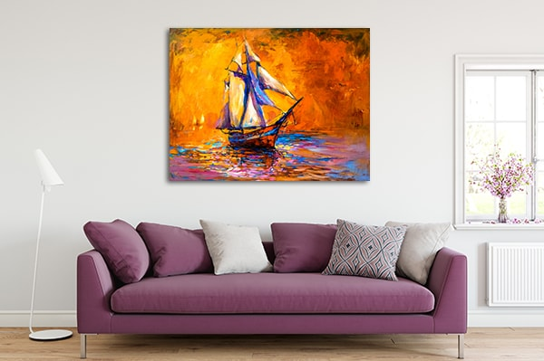 Sunset Sailboat Prints Canvas
