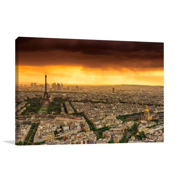 Sunset to Paris Wall Art Print