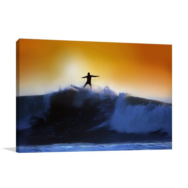 Surfer and Waves Canvas Print
