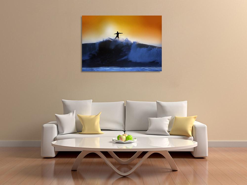 Blue Orange Landscape Print
