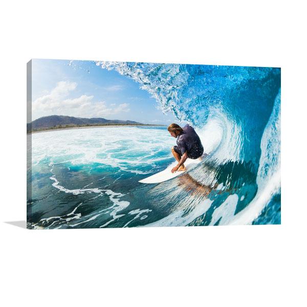 Surfer on Blue Ocean Art Prints