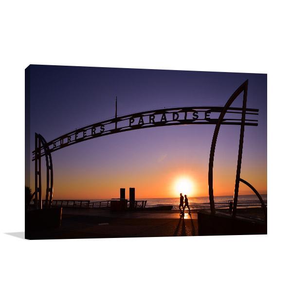Surfers Paradise Sign Wall Print Sunrise Photo Canvas
