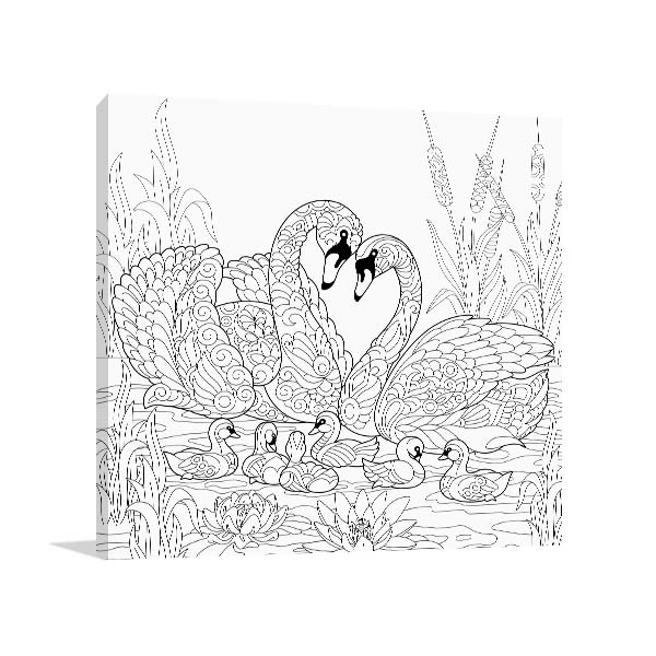 Swan Family Canvas Art
