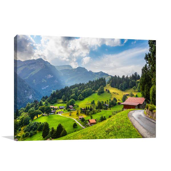 Swiss Alps Village Canvas Art Prints